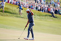 Brooks Koepka (USA) reacts on the 18th green after winning the 118th U.S. Open Championship at Shinnecock Hills Golf Club in Southampton, NY, USA. 17th June 2018.<br /> Picture: Golffile | Brian Spurlock<br /> <br /> <br /> All photo usage must carry mandatory copyright credit (&copy; Golffile | Brian Spurlock)