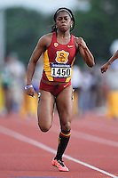 Tanya Gaither of USC competes in 100 meter prelims during West Preliminary Track and Field Championships, Friday, May 29, 2015 in Austin, Tex. (Mo Khursheed/TFV Media via AP Images)