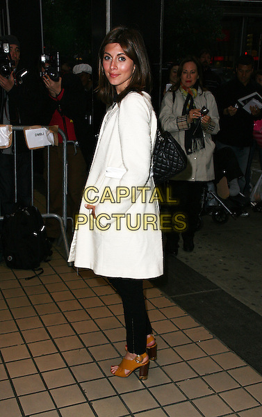 JAMIE-LYNN SILGER .The New York City premiere of 'Solitary Man' at Cinema 2,  New York, NY, USA, 11th May 2010..arrivals full length white coat side black trousers brown tan open toe heels sandals bag .CAP/ADM/PZ.©Paul Zimmerman/AdMedia/Capital Pictures.