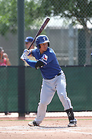 Jorge Alfaro #8 of the Texas Rangers bats during a Minor League Spring Training Game against the Kansas City Royals at the Kansas City Royals Spring Training Complex on March 20, 2014 in Surprise, Arizona. (Larry Goren/Four Seam Images)