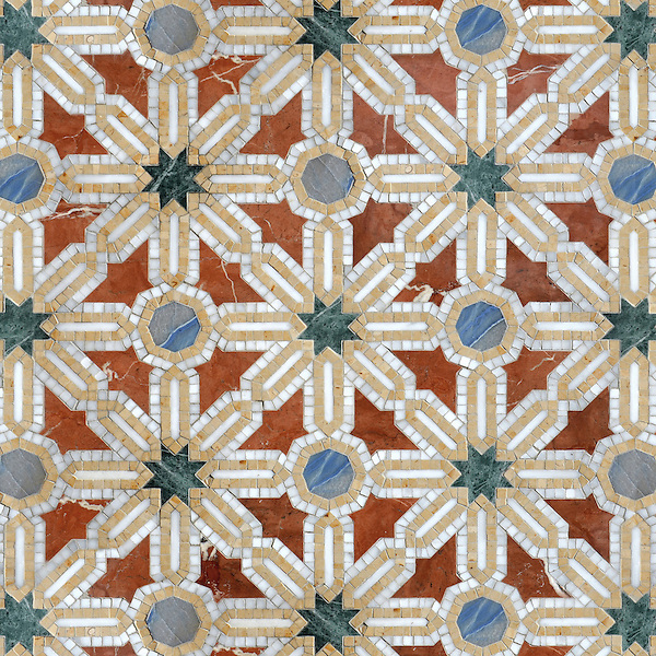 Alcazar Grande, a waterjet and hand-cut stone mosaic, shown in polished Calacatta, Spring Green, Blue Macauba, Rojo Alicante and Renaissance Bronze, is part of the Miraflores Collection by Paul Schatz for New Ravenna.