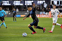 SAN JOSE, CA - MARCH 7: Cristian Espinoza #10 of the San Jose Earthquakes during a game between Minnesota United FC and San Jose Earthquakes at Earthquakes Stadium on March 7, 2020 in San Jose, California.