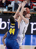 Real Madrid's Rudy Fernandez (r) and FC Barcelona Regal's Ante Tomic during Spanish Basketball King's Cup match.February 07,2013. (ALTERPHOTOS/Acero) /Nortephoto