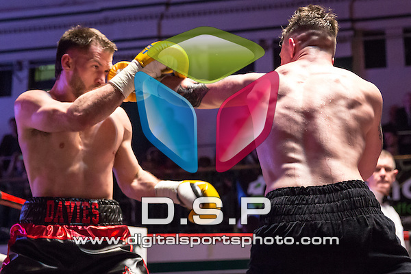 Chris Davies VS Brin Wain - Light Heavyweight Contest. Photo by: Stephen Smith.<br /> <br /> Goodwin Boxing: Paddy's Day Punch Up - Saturday 19th March 2016. York Hall, Bethnal Green, London, United Kingdom.