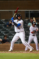 Scottsdale Scorpions Ali Sanchez (20), of the New York Mets organization, at bat during an Arizona Fall League game against the Glendale Desert Dogs on September 20, 2019 at Salt River Fields at Talking Stick in Scottsdale, Arizona. Scottsdale defeated Glendale 3-2. (Zachary Lucy/Four Seam Images)