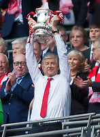 Arsene Wenger Arsenal manager lifts the FA Cup during the FA Cup Final match between Arsenal v Chelsea, Wembley stadium, London on 27th May 2017