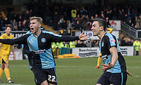 Luke O'Nien of Wycombe Wanderers celebrates his goal with Jason McCarthy of Wycombe Wanderers during the Sky Bet League 2 match between Wycombe Wanderers and Bristol Rovers at Adams Park, High Wycombe, England on 27 February 2016. Photo by Kevin Prescod.