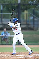 Ibandel Isabel (51) of the AZL Dodgers bats during a game against the AZL Diamondbacks at the Los Angeles Dodgers Spring Training Complex on July 3, 2015 in Glendale, Arizona. Diamondbacks defeated the Dodgers, 5-1. (Larry Goren/Four Seam Images)