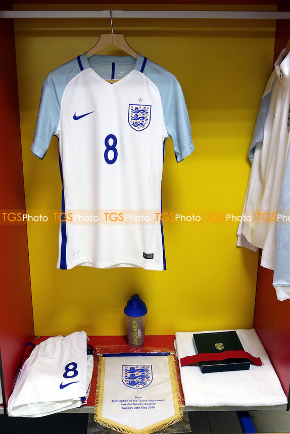 James Ward-Prowse will captain the England side in the Final and awaiting him at his seat in the dressing room is his kit, a pennant to give to the opposition and his captain's armband during England Under-20 vs France Under-20, 2016 Toulon Tournament Final Football at Parc des Sports on 29th May 2016