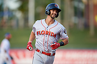 Florida Fire Frogs Brett Langhorne (23) rounds the bases after hitting a home run during a Florida State League game against the St. Lucie Mets on April 12, 2019 at First Data Field in St. Lucie, Florida.  Florida defeated St. Lucie 10-7.  (Mike Janes/Four Seam Images)