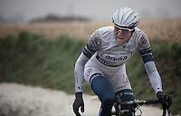 Dwars Door Vlaanderen 2013.Tom Stamsnijder (NLD) calling for a mechanical