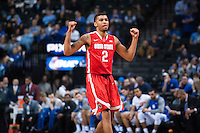 BROOKLYN, NY - Saturday December 19, 2015: Marc Loving (#2) of Ohio State as celebrates a point as the Buckeyes defeat Kentucky 74-67 in the CBS Classic at Barclays Center in Brooklyn, NY.