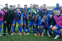 The victorious Maldon players celebrate on the pitch during Leyton Orient vs Maldon & Tiptree, Emirates FA Cup Football at The Breyer Group Stadium on 10th November 2019