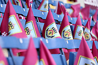 Flags laid out for Burnley fans ahead of kick-off at Turf Moor<br /> <br /> Photographer Rich Linley/CameraSport<br /> <br /> The Premier League - Saturday 13th April 2019 - Burnley v Cardiff City - Turf Moor - Burnley<br /> <br /> World Copyright © 2019 CameraSport. All rights reserved. 43 Linden Ave. Countesthorpe. Leicester. England. LE8 5PG - Tel: +44 (0) 116 277 4147 - admin@camerasport.com - www.camerasport.com