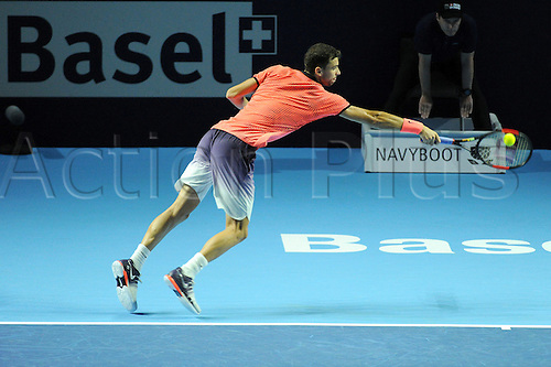 25.10.2016.  St. Jakobshalle, Basel, Switzerland. Basel Swiss Indoors Tennis Championships. Day 2. Grigor Dimitrov in action in the match against Gilles Muller of Luxembourg