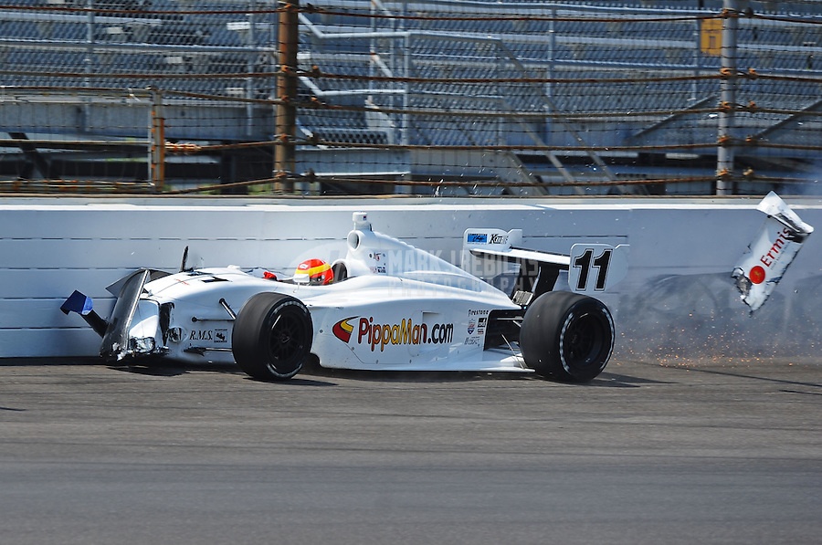 May 28, 2010; Indianapolis, IN, USA; Indy Light Series driver Pippa Mann crashes during the Freedom 100 at the Indianapolis Motor Speedway. Mandatory Credit: Mark J. Rebilas-