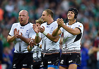 Romania players acknowledge the crowd after the match. Rugby World Cup Pool D match between Ireland and Romania on September 27, 2015 at Wembley Stadium in London, England. Photo by: Patrick Khachfe / Onside Images