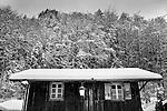 Snow on Chalet taken in Morzine, France, Europe