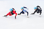 Charles Hamelin of Canada being followed during the Short Track Speed Skating as part of the 2014 Sochi Olympic Winter Games at Iceberg Skating Palace on February 10, 2014 in Sochi, Russia. Photo by Victor Fraile / Power Sport Images