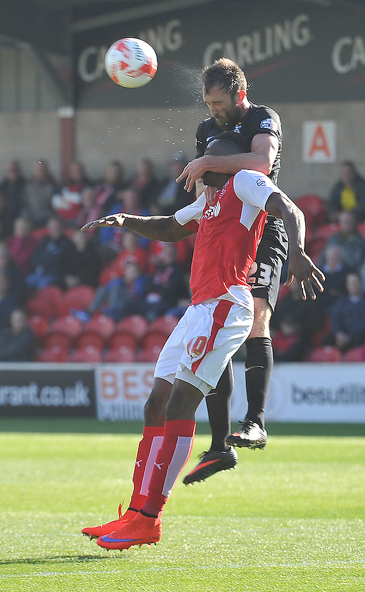 Fleetwood Town's Jamille Matt is fouled by Bradford City's Rory McArdle<br /> <br /> Photographer Dave Howarth/CameraSport<br /> <br /> Football - The Football League Sky Bet League One -  Fleetwood Town v Bradford City - Saturday 12th September 2015 -  Highbury Stadium - Fleetwood <br /> <br /> &copy; CameraSport - 43 Linden Ave. Countesthorpe. Leicester. England. LE8 5PG - Tel: +44 (0) 116 277 4147 - admin@camerasport.com - www.camerasport.com