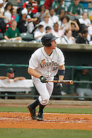 Charleston RiverDogs infielder Conner Spencer (33) at bat during a game against the Augusta GreenJackets at Joseph P.Riley Jr. Ballpark on April 15, 2015 in Charleston, South Carolina. Charleston defeated Augusta 8-0. (Robert Gurganus/Four Seam Images)