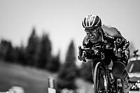 Svein Tuft (CAN/Orica-Scott) descending the Passo Monte Croce Comelico / Kreuzbergpass (1636m)<br /> <br /> Stage 19: San Candido/Innichen › Piancavallo (191km)<br /> 100th Giro d'Italia 2017