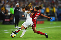Carson, CA - Thursday August 03, 2017: Rumi Utsugi, Mallory Pugh during a 2017 Tournament of Nations match between the women's national teams of the United States (USA) and Japan (JPN) at the StubHub Center.