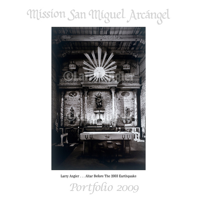 Altar Before The 2003 Earthquake by Larry Angier..Mission San Miguel Arcángel Portfolio.Photographed April, 2009 and published 2009...