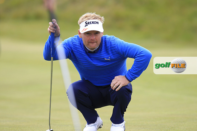 Soren KJELDSEN (DEN) lines up his putt on the 1st green during Saturday's Round 3 of the 2015 Dubai Duty Free Irish Open, Royal County Down Golf Club, Newcastle Co Down, Northern Ireland 5/30/2015<br /> Picture Eoin Clarke, www.golffile.ie