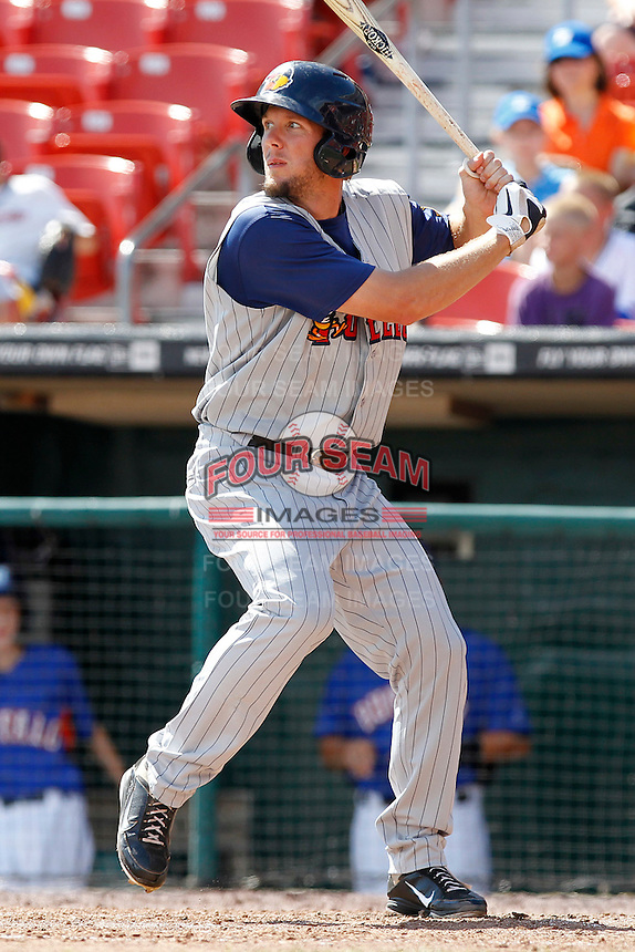 Toledo Mudhens outfielder Clete Thomas #34 during a game against the Buffalo Bisons at Coca-Cola Field on August 17, 2011 in Buffalo, New York.  Buffalo defeated Toledo 4-2.  (Mike Janes/Four Seam Images)