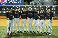(L-R) Wake Forest Demon Deacons seniors Parker Johnson (22), John McCarren (45), Parker Dunshee (36), Chris Farish (32), Connor Johnstone (3), Ben Breazeale (39), and Jonathan Pryor (11) pose for a photo after eliminating the West Virginia Mountaineers in Game Six of the Winston-Salem Regional in the 2017 College World Series at David F. Couch Ballpark on June 4, 2017 in Winston-Salem, North Carolina.  The Demon Deacons defeated the Mountaineers 12-8.  (Brian Westerholt/Four Seam Images)