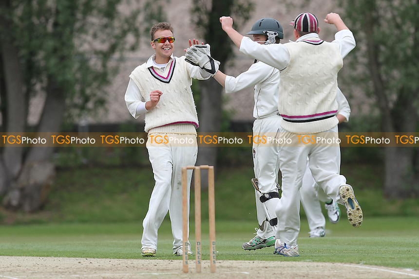 Chris Cook of Ardleigh Green is dismissed by Tom Blundell - Colchester & East Essex CC vs Ardleigh Green CC - Essex Cricket League at Castle Park - 02/06/12 - MANDATORY CREDIT: Gavin Ellis/TGSPHOTO - Self billing applies where appropriate - 0845 094 6026 - contact@tgsphoto.co.uk - NO UNPAID USE.