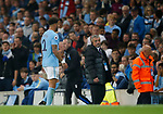 Kyle Walker of Manchester City walks to the dressing room following his red card during the Premier League match at the Eithad Stadium, Manchester. Picture date 21st August 2017. Picture credit should read: Simon Bellis/Sportimage