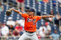 Cal State Fullerton pitcher Tyler Peitzmeier (51) delivers a pitch to the plate during the NCAA College baseball World Series against the Vanderbilt Commodores Titans on June 15, 2015 at TD Ameritrade Park in Omaha, Nebraska. Vanderbilt beat Cal State Fullerton 4-3. (Andrew Woolley/Four Seam Images)