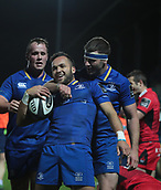29th September 2017, RDS Arena, Dublin, Ireland; Guinness Pro14 Rugby, Leinster Rugby versus Edinburgh; Jamison Gibson-Park (Leinster) celebrates his try with Fergus McFadden (Leinster)