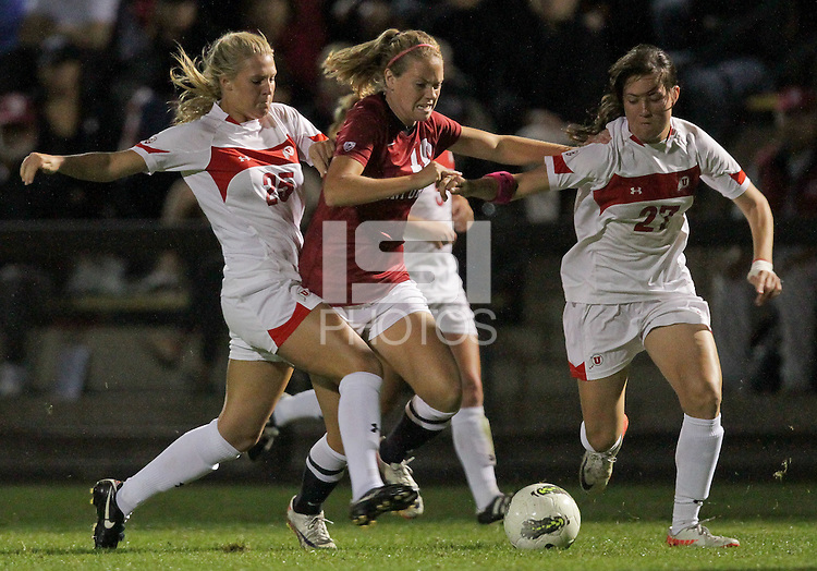 STANFORD, CA - October 21, 2011:  Sidney Payne fights through the defense In Stanford's 4-0 victory over Utah in Stanford, California on October 21, 2011.