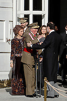 Prime Minister Mariano Rajoy, Princess Letizia of Spain, Prince Felipe of Spain, King Juan Carlos of Spain and Queen Sofia of Spain attend the traditional 'Pascua Militar' ceremony at The Royal Palace. January 06, 2013. (ALTERPHOTOS/Caro Marin)