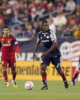 New England Revolution midfielder Shalrie Joseph (21) surveys his options. Real Salt Lake defeated the New England Revolution, 2-1, at Gillette Stadium on October 2, 2010.