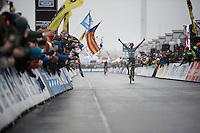 Wout Van Aert (BEL/Crelan-Vastgoedservice) takes the (elite) world championship title for the very first time<br /> <br /> Men's Elite Race<br /> <br /> UCI 2016 cyclocross World Championships,<br /> Zolder, Belgium