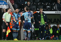 Sam Wood of Wycombe Wanderers replaces Scott Kashket of Wycombe Wanderers during the Sky Bet League 2 match between Notts County and Wycombe Wanderers at Meadow Lane, Nottingham, England on 10 December 2016. Photo by Andy Rowland.