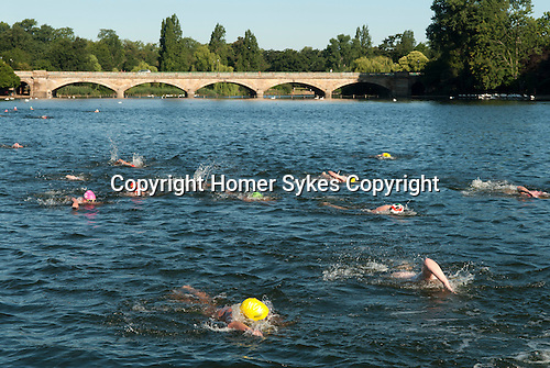 Serpentine Lake Hyde Park London UK Swimming race.
