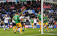 Bolton Wanderers' players react to a late save from Preston North End's goalkeeper Declan Rudd <br /> <br /> Photographer Andrew Kearns/CameraSport<br /> <br /> The EFL Sky Bet Championship - Bolton Wanderers v Preston North End - Saturday 9th February 2019 - University of Bolton Stadium - Bolton<br /> <br /> World Copyright © 2019 CameraSport. All rights reserved. 43 Linden Ave. Countesthorpe. Leicester. England. LE8 5PG - Tel: +44 (0) 116 277 4147 - admin@camerasport.com - www.camerasport.com