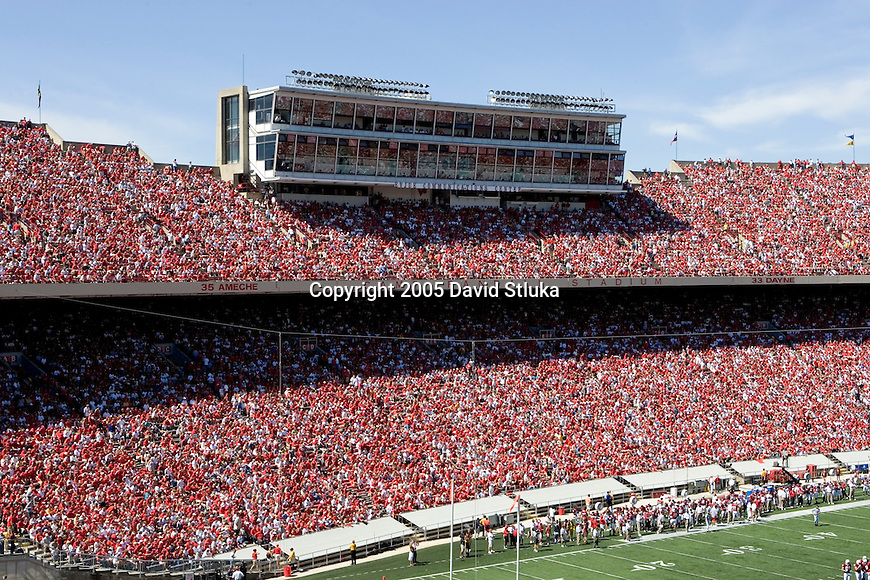 MADISON, WI - SEPTEMBER 3: A general view of Evjue Communications Center at Camp Randall Stadium during the Wisconsin Badgers game against the Bowling Green Falcons at Camp Randall Stadium on September 3, 2005 in Madison, Wisconsin. The Badgers beat the Falcons 56-42. Photo by David Stluka.