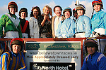 Caprice who judged the Best Dressed Lady Competition with the female jockeys and Emma Jane and Kieran Flynn from Gosh Cosmetics at The Bellewstown Races...Photo NEWSFILE/Jenny Matthews.(Photo credit should read Jenny Matthews/NEWSFILE)....This Picture has been sent you under the condtions enclosed by:.Newsfile Ltd..The Studio,.Millmount Abbey,.Drogheda,.Co Meath..Ireland..Tel: +353(0)41-9871240.Fax: +353(0)41-9871260.GSM: +353(0)86-2500958.email: pictures@newsfile.ie.www.newsfile.ie.FTP: 193.120.102.198.