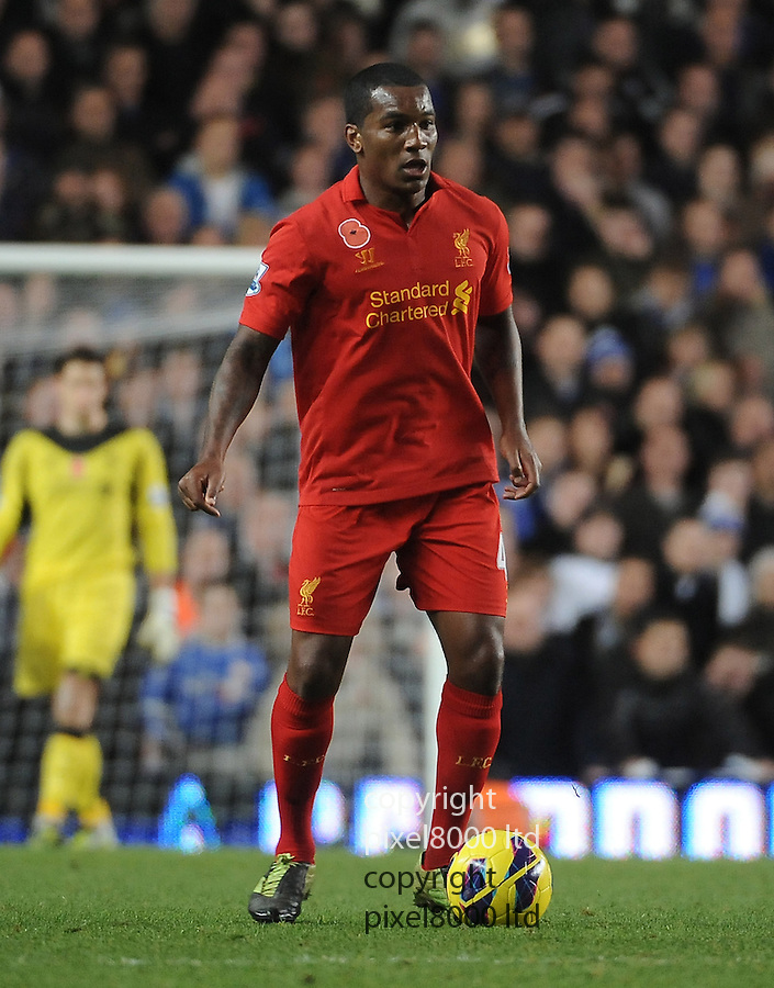 Andre Wisdom of Liverpool in action during the Barclays Premier League match between Chelsea and Liverpool at Stanford Bridge on Sunday November 11, 2012 in London, England Picture Zed Jameson/pixel 8000 ltd.