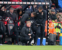 Manager Eddie Howe (L) of Bournemouth talks with Assistant Manager Jason Tindall (R) during the Premier League match between Bournemouth v West Bromwich Albion played at Vitality Stadium, Bournemouth United Kingdom  on 17 Mar 2018