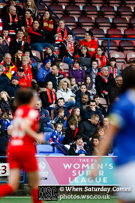 Liverpool Ladies 2 Everton Ladies 1, 19/03/2017. Select Security Stadium, SSE FA Cup Fifth Round. Fans during the game between Liverpool Ladies v Everton Ladies at The Select Security Stadium, Widnes, in the Women's SSE FA Cup Fifth Round. Photo by Paul Thompson.