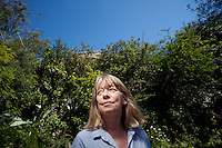 Sarah Bartlett, astrologer, poses for the photographer in the garden space where she stands to stargaze, Mandelieu-la-Napoule, France, 03 May 2012