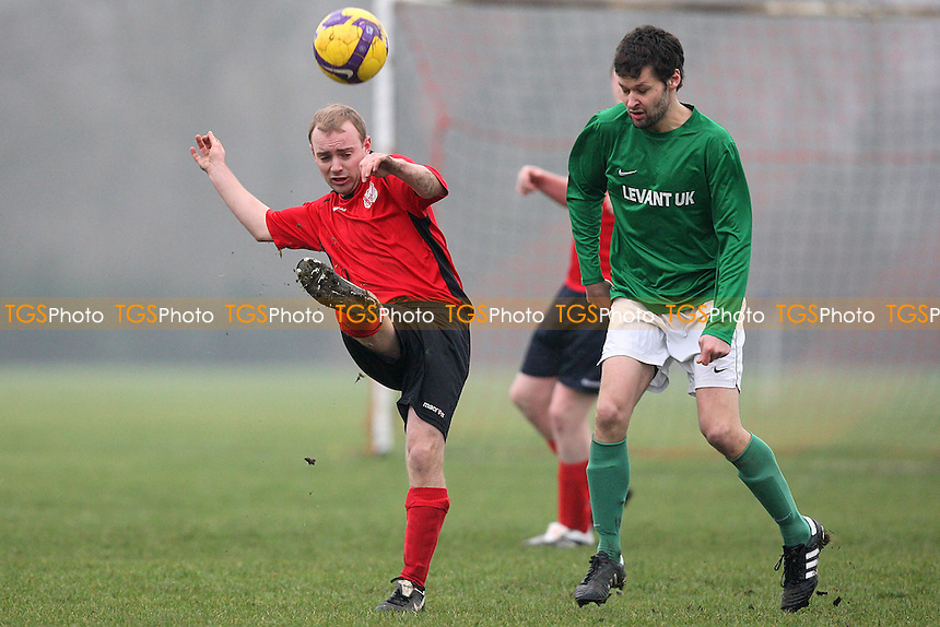 Lockers (green) vs Regents Park Rovers (red) - Hackney & Leyton League Football at South Marsh, Hackney Marshes, London - 20/02/11 - MANDATORY CREDIT: Gavin Ellis/TGSPHOTO - Self billing applies where appropriate - Tel: 0845 094 6026