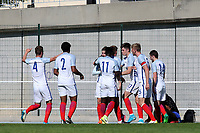 England players congratulate David Brooks after scoring their opening goal during England Under-18 vs Ivory Coast Under-20, Toulon Tournament Final Football at Stade de Lattre-de-Tassigny on 10th June 2017